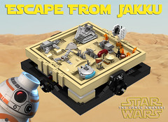 Maze: Escape From Jakku (Oky - Space Ranger) Tags: rebel star garbage fighter order force desert lego crashed transport tie first millennium special destroyer falcon planet imperial maze xwing wars junkyard wreck ideas atat forces troop resistance outpost awakens microscale bb8 jakku
