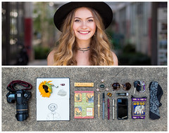 Angelique Diptych (J Trav) Tags: portrait girl hat persona diptych whatsinyourbag theitemswecarry showusthecontentsofyourbag thingsorganizedneatly