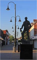 AE Housman with lamps, Bromsgrove High Street, evening (alanhitchcock49) Tags: street club digital photography evening high photoshoot may 16 worcestershire ae 2016 bromsgrove housman webheath