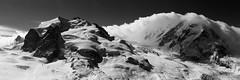 Nordend, Dufourspitze & Lyksam (Julien Stalder) Tags: panorama mountain snow alps montagne alpes canon landscape schweiz switzerland is blackwhite julien suisse pano ii gornergrat neige zermatt 28 paysage wallis ef valais noirblanc 70200mm stalder 5diii