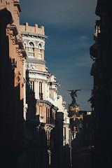 Gran Via, Madrid (W140) Tags: madrid street city trip travel light shadow españa streets building architecture canon buildings spain europe cityscape shadows spanien granvia afterlight canon400d