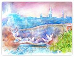 Watercolour:...Luxembourg, mon Amour... (Nadia Minic) Tags: pink blue art nature birds view atmosphere cathdrale fantasy watercolour mauve luxembourg fortifications oldtown brouillard luxembourgcity outdor inexplore glisestmichel aupetitmatin artistnadiaminic artwatercolourluxembourgville fontainedefabriziococchiaarchitectesculpteur luxembourgskylineoldtown dschlassbrck