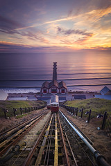 Tramway to Heaven (Stephen Tierney.) Tags: summer water yellow clouds sunrise golden tram northyorkshire hightide lowsun saltburnpier canon6d stephentierney ef1635mmf4 wwwstephentierneycouk