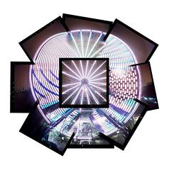 The big wheels keep turning (Zeb Andrews) Tags: carnival motion composite oregon portland ferriswheel pdx funcenter rosefestival holgarama lomochrometurquoise
