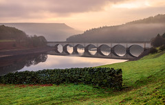 Bridging The Gap (Nicks-2017) Tags: hope england unitedkingdom gb ladybowerreservoir bridge outdoors architecture hills mountain tree structure tranquil nature clouds mist sky sunrise lake water reflections nationalpark peakdistrict bamfordedge winhill wall stone valley scenic canon eos 6dmkii