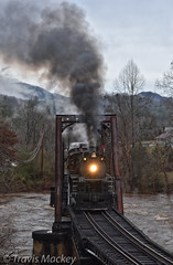 GSMR 1702 crossing over the Tuckaseegee River (Travis Mackey Photography) Tags: gsmr 1702 tuckaseegee river ela nc train railroad locomotive steam bridge water trees sky