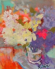 Blooming in the Morning (Kerri Blackman) Tags: flowers bouquet colorful loosebrushstrokes stilllifepainting originalartwork daisies purple