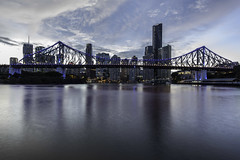 brisbane city at sunset (Greg M Rohan) Tags: skyscrapers skyscraper skyline sky clouds lights architecture storybridge bridge building buildings brisbaneriver river water blue sunset brisbanecity queensland brisbane australia city d750 2018 nikon nikkor