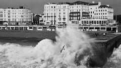 The wave and the seagull (rafpas82) Tags: seagull gabbiano wave onda brighton brightonpier beach spiaggia mareagitato roughsea blackandwhite biancoenero palazzi buildings hove sussex unitedkingdom inghilterra england regnounito fuji fujinon xt20 fujifilmxt20 35mmf2 fujinon35mmf2
