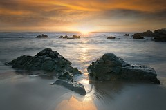 You had to have been there.... (dave.fergy) Tags: coast sunrise dawn rocks composite starburst warm cool blue gold