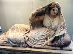 Painted terracotta sarcophagus of Seianti Hanunia Tlesnasa Etruscan, about 150-130 BC (lukenotskywalker60) Tags: british museum etruscan painted terracotta sarcophagus poggio cantarello chiusi