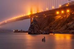 Golden Glow (Kirk Lougheed) Tags: california fortbaker goldengatebridge marincounty marinheadlands sanfrancisco usa unitedstates bay bridge fog landscape outdoor sky water