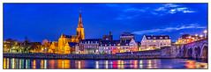 Maastricht by night (Janine en Ron) Tags: panorama colours sky fullmoon thenetherlands limburg bridge sintservaasbrug ridderbier brouwerijderidder