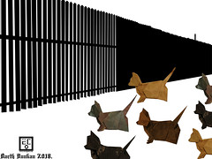 Mexico–United States barrier - Barth Dunkan. (Magic Fingaz) Tags: anjing barthdunkan chien chó dog hond hund köpek origami paperfolding perro pies пас пес собака หมา 개 犬 狗