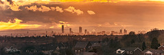 Golden Hour Panorama (pollylew) Tags: panorama cityscape manchester welshhills