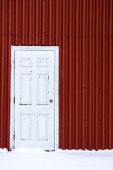White & Red (Karen_Chappell) Tags: white red door shed building snow holyrood newfoundland nfld architecture avalonpeninsula eastcoast atlanticcanada canada paint painted wood wooden metal