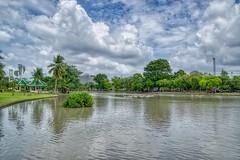Lake in Chatuchak park, Bangkok, Thailand (UweBKK (α 77 on )) Tags: lake water reflection clouds sky grey blue green park recreation tree bush grass chatuchak jatujak bangkok thailand southeast asia sony alpha 77 slt dslr