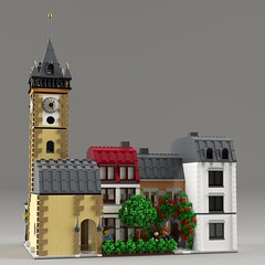 Clock Tower Modular (aukbricks) Tags: lego moc legomoc afol afolsweden architecture legoarchitecture design modular legomodular legomodularbuilding clocktower clock tower house tree flowers climbingroses pragueastronomicalclock legodigitaldesigner ldd mecabricks blender render rendering computerrendering