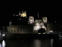 Cathedral and Fourvière at night, Saône River, Lyon, France (Paul McClure DC) Tags: lyon france july2017 auvergnerhônealpes historic architecture night vieuxlyon fourvière saône cathedral church