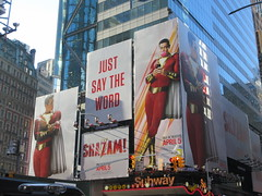 Shazam The Big Red Cheese Billboard 42nd St NYC 4331 (Brechtbug) Tags: shazam billboard 42nd street new captain marvel the big red cheese poster ad nyc 2019 times square movie billboards york city work working worker paint painting advertisement dc comic comics hero superhero alien dark knight bat adventure national periodicals publication book character near broadway shield s insignia blue forty second st fortysecond 03202019 lightning flight flying march
