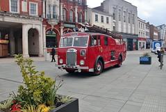 PBJ 338, Ipswich Transport Museum's Dennis Fire Tender, Cornhill, Ipswich, 14th. April 2019. (Crewcastrian) Tags: ipswich fireengine cornhill transport dennis ipswichtransportmuseum pbj338