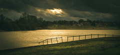 No barriers (Matthew Johnson1) Tags: reservoir green water contrast lighting epic dramatic fence