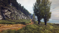 Vanishing of Ethan Carter (screenreel) Tags: vanishingofethancarter unrealengine ue4 graphics gpu pc videogame nature grass tree green yellow autumn sky sun clouds leaf ground road mystic detective day wood forest railroad river mountains horizon light wire bridge metal lampion streetlight building abandoned electricity rock tunnel