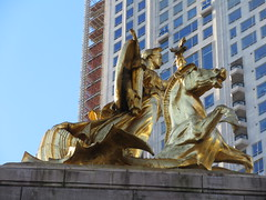 2019 Victory Statue USS Maine Monument - Gold Leaf Gilded 2286 (Brechtbug) Tags: uss maine monument 1913 beaux arts commemorate controversial sinking battleship 1898 the ship has sculpted representations mythological figures victory peace courage fortitude justice central park entrance nyc 02192019 new york city arms wrapping around rock statue sculpture february 2019 columbus circle