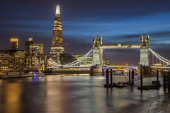 Luci della città / City lights (Tower Bridge, Lodnon, United Kingdom) (AndreaPucci) Tags: london uk andreapucci night thames theshard towerbridge longexposure