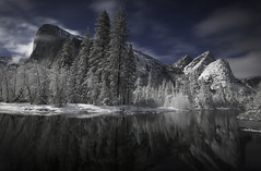 Midnight On The Merced (WJMcIntosh) Tags: yosemite yosemitenationalpark snow winter moonlight mercedriver elcapitan threebrothers