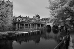 The Gathering III (James Etchells) Tags: bath city urban infrared ir river water avon cityscape landscape surreal black white monochrome architecture structure trees tree nature natural world reflection reflections symmetry sky clouds south west england uk britain roman ancient texture surface