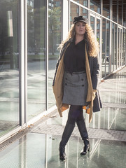 Karen, Amsterdam 2018: Cool elegance (mdiepraam) Tags: karen amsterdam 2018 zuidas portrait pretty attractive beautiful elegant classy gorgeous dutch blonde girl woman lady naturalglamour curls coat leather boots skirt mature milf pantyhose tights stockings nylons flatcap backlight