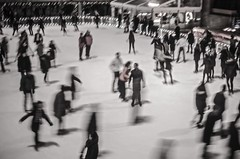 Ghosts skating on ice at The Rockefeller Center (Capitancapitan) Tags: nyc rockefeller center skating ice manhattan new york city neury luciano black white pentax camera street photography