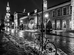 Street of Montréal (denis.gorcovenco) Tags: walk downtown church oldport architecture bw blackwhite monochrome christmas canada montréal oldtown city street bike road building snow sidewalk absoluteblackandwhite
