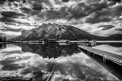 Morning Lake Minnewanka (Sean X. Liu) Tags: lakeminnewanka reflection clouds banffnationalpark alberta blackandwhite monochrome rockymountains canadianrockies canada