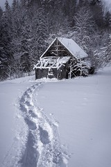 Snow traces to the barn (marvinneubugrer) Tags: barn snowshoes traces schneeschuhe snowcapped snow winter austria steiermark krieglach langenwang sonyphotography canonphotography canon1740 sonya7 sony moody mood