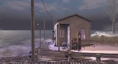 water's edge (Sabine Maruti) Tags: winter dock cabin atmospheric scenic waterscape nevariver sl secondlife