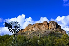 Superstition-EFFECTS (ONE/MILLION) Tags: vacation travel tours visit outdoors superstition mountains church blue sky snow clouds golf course canyon lake cactus williestark onemillion saguaro rocks mailbox colorful weather lost dutchman gold mine history