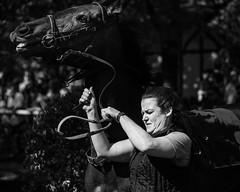Hold On (Tom Levold (www.levold.de/photosphere)) Tags: afsvrzoomnikkor70300 cologne d700 köln nikon race racetrack rennbahn bw sw porträt portrait horse pferd