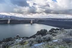 lucky peak-12-30-18-27 (Ken Folwell) Tags: dam clouds rocks water sagebrush skies winter landscapes outdoors lake reservoir