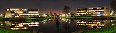 The Hood (EmreKanik) Tags: holland nightphotography netherlands symmetry reflection 365project purmerend apartments panorama europe architecture water northholland nl
