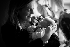 Mother's Love (yannha) Tags: canon85mm14 people woman baby girl newborn mother daughter motherhood love smile bw blackandwhite