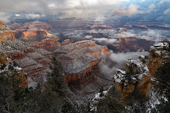 Canyon Dream (pdxsafariguy) Tags: arizona winter canyon snow nature landscape rock usa travel scenic cliff erosion southwest desert geology sunrise cold clouds grandcanyon nationalpark fog mist usnationalpark tomschwabel