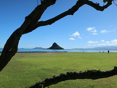 Oahu Colours - The Chinaman's Hat (Pushapoze (MASA)) Tags: hawaii oahu chinamanshat mountains ocean palms palmiers explore