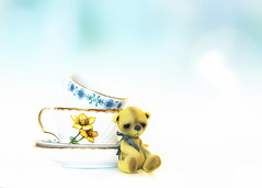 button does not like cups (rockinmonique) Tags: button tiny tinybear teddybear teacup highkey yellow white blue bokeh stilllife moniquewphotography canon canont6s tamron tamron45mm copyright2019moniquewphotography