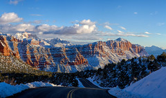 Zion National Park: on the road to Kolob Terrace (swissuki) Tags: us ut winter zion national nature park landscape sky snow mountains