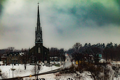 Wet Dreary Day (langdon10) Tags: canada quebec road church clouds dreary overcast rain shoreline snow street trees winter