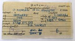 I_Fahrkarte_Bago-Nyaungkashe (florian_grupp) Tags: asia myanmar burma train railway railroad yangon rangoon myanmarailways southeast metergauge metregauge 1000mm diesel locomotive ticket foreigner