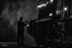 Last Stop (PhilR1000) Tags: timelineevents bw locomotive train steam signal light lamp blackwhite didcotrailwaycentre reenactor people night dark