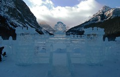 Lake Louise Ice Carving Festivities (Mr. Happy Face - Peace :)) Tags: ice castle banff lakelouise art2019 mountains snow chateau hotel rockies flickrfriday 25yrs celebration parkcanada cans2s artist competition